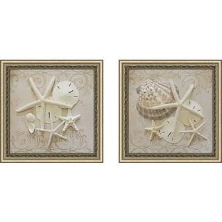 "Art Sets of 2 Twin Set Matching ""White Shells II"" Framed Acrylic Wall Decor"
