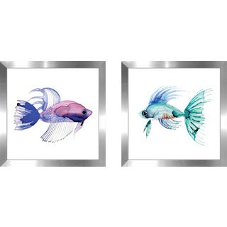 "Art Sets of 2 Twin Set Matching ""Purple Fish"" Framed Acrylic Wall Decor"