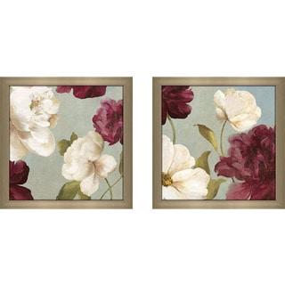 "Art Sets of 2 Twin Set Matching ""Deep Peonies II"" Framed Acrylic Wall Decor"