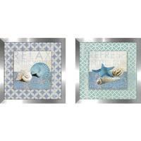 "Art Sets of 2 Twin Set Matching ""Shell Geo II"" Framed Acrylic Wall Decor"