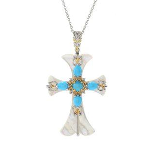 Michael Valitutti Palladium Silver Mother-of-Pearl & Multi Turquoise Cross Pendant