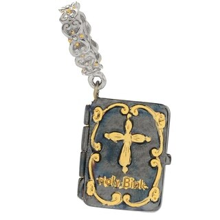 Michael Valitutti Palladium Silver Tri-Color Holy Bible Drop Charm