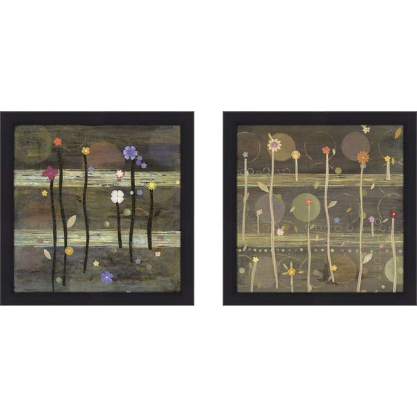 "Art Sets of 2 Twin Set Matching ""Coming up Posies II"" Framed Acrylic Wall Decor"