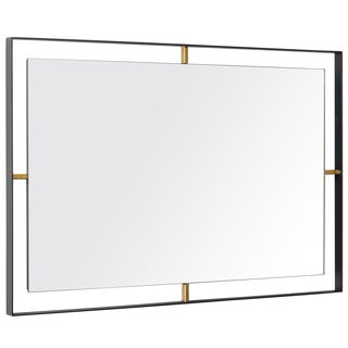 Rogue Décor Framed 20 x 30 Rectangular Matte Black Wall Mirror - Antique Brown