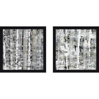 "Art Sets of 2 Twin Set Matching ""Birch Perspective Grey II"" Framed Acrylic Wall Decor"