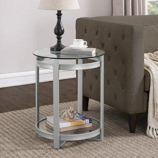 Retro Glitz Silver Glass/Metal End Table