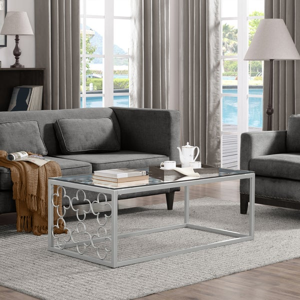 Quatrefoil Silver Metal And Glass Coffee Table