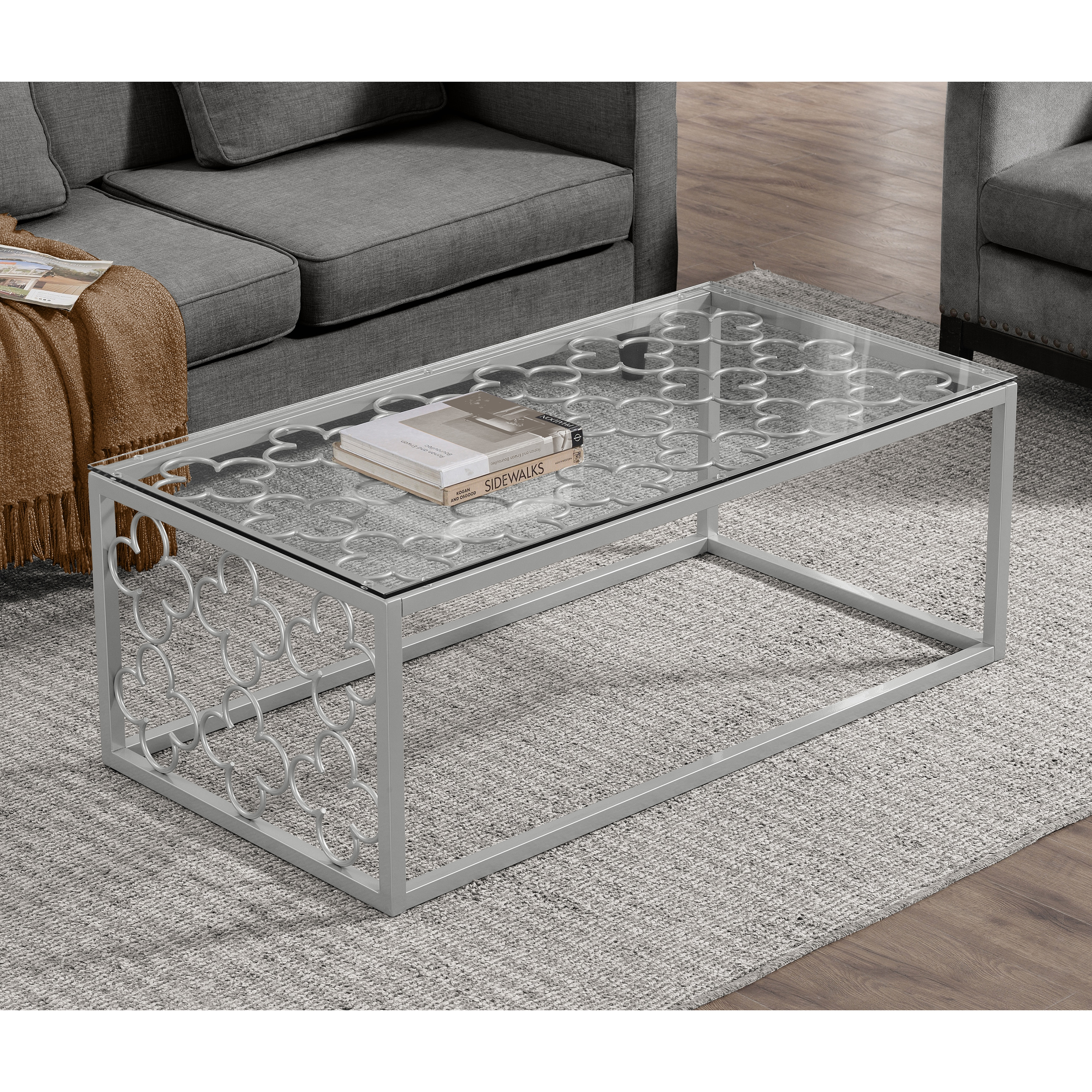 Shop Black Friday Deals On Quatrefoil Silver Metal And Glass Coffee Table Overstock 14534389