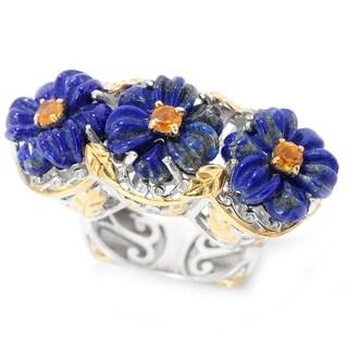 Michael Valitutti Palladium Silver Lapis Madeira Citrine East West Three Flower Ring