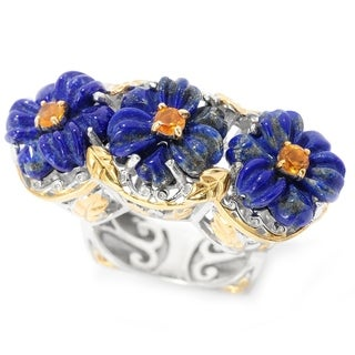 Michael Valitutti Palladium Silver Lapis & Madeira Citrine East-West Three Flower Ring