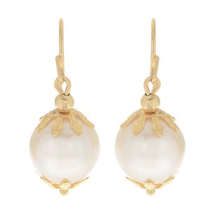 Pearls For You 14k Yellow Gold White Freshwater Pearl Dangle Earrings (10.5-11.5 mm)