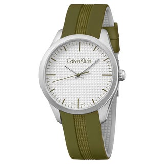 Calvin Klein Men's Color Green Strap with Silver Dial Silicone Watch