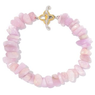 Michael Valitutti Palladium Silver Freeform Kunzite Bead Floral Detailed Toggle Bracelet
