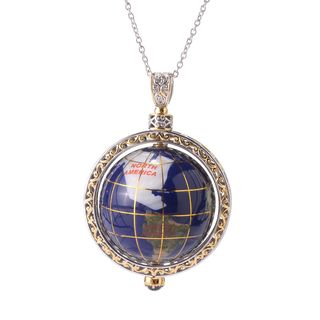 Michael Valitutti Palladium Silver Lapis Lazuli & African Amethyst Globe Pendant