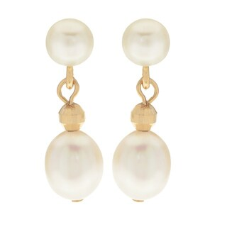 Pearls For You 14k Yellow Gold White Freshwater Pearl with Gold Bead Dangle Earrings (4-4.5, 6-6.5 mm)