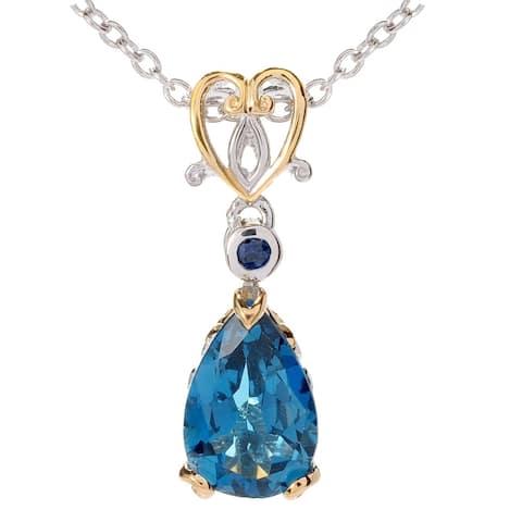 Michael Valitutti Palladium Silver London Blue Topaz & Blue Sapphire Faceted Pendant