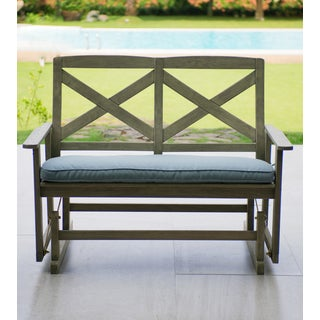 Cambridge Casual West Lake Glider Bench with Blue Seat Pad