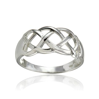 Mondevio Sterling Silver High Polished Weave Band Ring