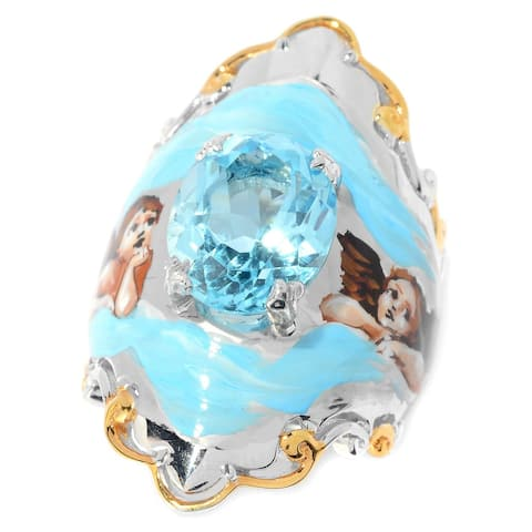 Michael Valitutti Palladium Silver Swiss Blue Topaz Hand-Painted Cherub Ring
