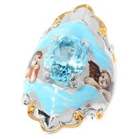 Michael Valitutti Palladium Silver Swiss Blue Topaz Hand-Painted Cherub Ring