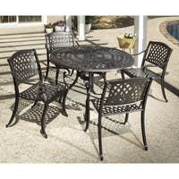 Westbury Cast Aluminum Dining Set With Round Dining Table and 4 Stackable Dining Arm Chairs