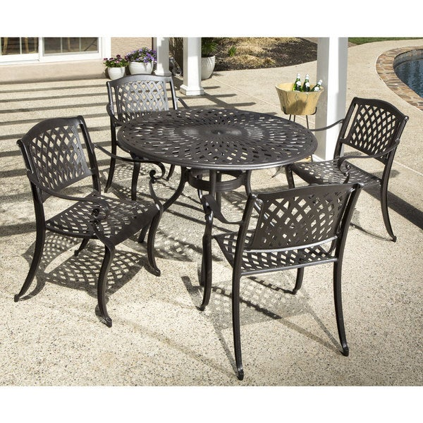 Charmant Westbury Cast Aluminum Dining Set With Round Dining Table And 4 Stackable  Dining Arm Chairs