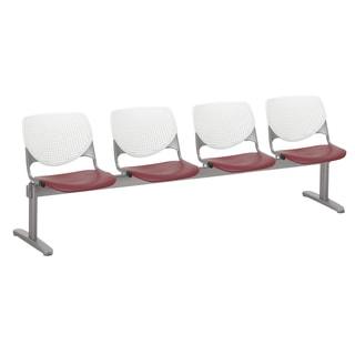 KOOL White Back and Burgundy Seat 4-seat Beam Seating