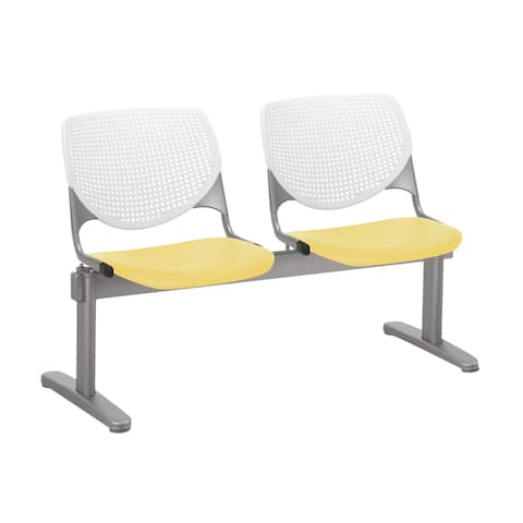 KFI KOOL 2 Seat Waiting Room Chair, White Back, Yellow Seat - 2 seats