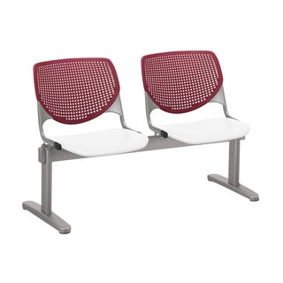 KOOL 2-seat Beam Seating with Burgundy Back and White Seat