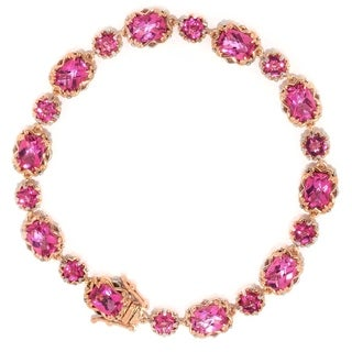 Michael Valitutti Palladium Silver Checkerboard Cut Pink Coated Topaz Tennis Bracelet