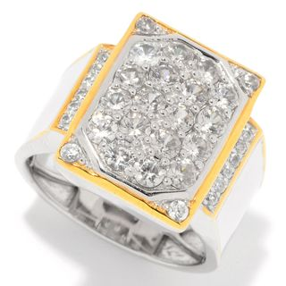 Michael Valitutti Palladium Silver Pave White Zircon Rectangle Top Polished Men's Ring