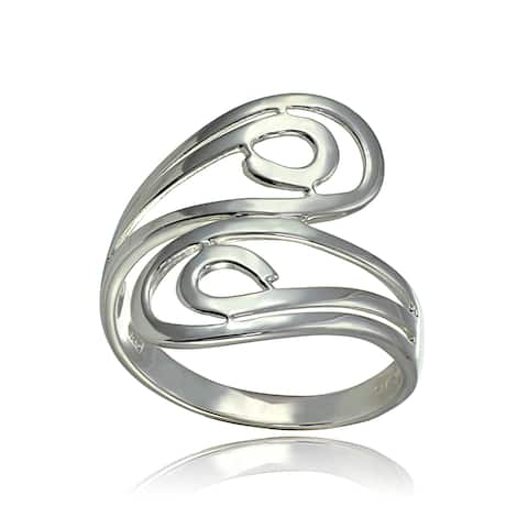Mondevio Sterling Silver High Polished Open Wrap Ring