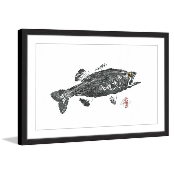 'Large Mouth Bass' Framed Painting Print