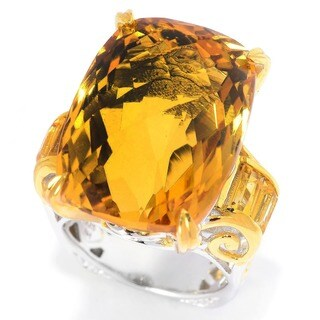 Michael Valitutti Palladium Silver Cushion Checkerboard Cut Brazilian Canary Citrine Ring