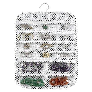 Navy Polka Dots 31-pocket Hanging Jewelry Organizer
