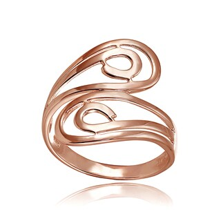 Mondevio 18k Rose Gold Over Sterling Silver High Polished Open Wrap Ring