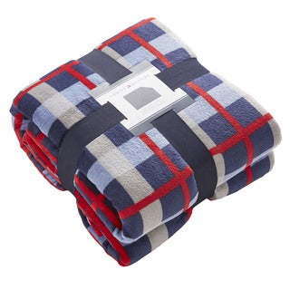Tommy Hilfiger Multicolored Plush Printed Throw