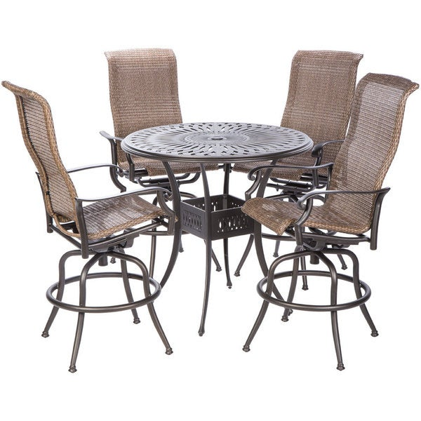 shop naples bar height set with round cast aluminum table and 4 bar height swivel arm chairs. Black Bedroom Furniture Sets. Home Design Ideas