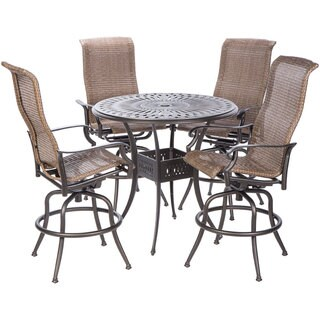 Naples Bar Height Set with Round Cast Aluminum Table and 4 Bar Height Swivel Arm Chairs