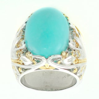 Michael Valitutti Amazonite and White Sapphire Cocktail Ring- Size 6