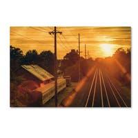 Jason Shaffer 'Train Depot' Canvas Art - Yellow
