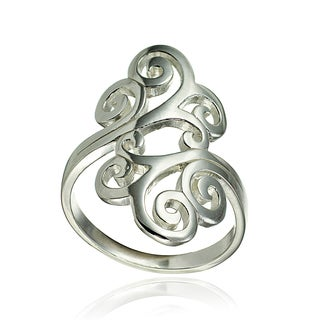 Mondevio Sterling Silver High Polished Open Filigree Ring