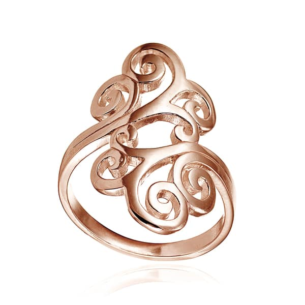 24b197f1576d7 Shop Mondevio 18k Rose Gold Over Sterling Silver High Polished Open ...