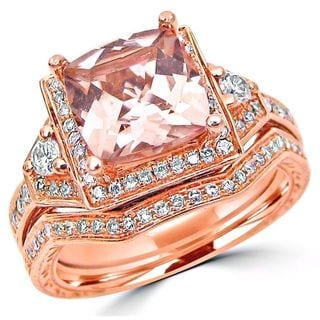 Noori 14k Rose Gold Morganite and 2/5ct TDW Diamond Bridal Set (H-I, I1-I2)