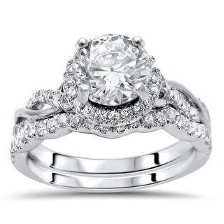 Noori 14k White Gold Moissanite and 1/2ct TDW White Diamond Bridal Set (F-G, SI1-SI2)