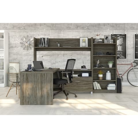 Pro-Linea L-Desk with Bookcase