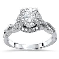Noori 14k White Gold Moissanite and 1/3ct TDW White Diamond Engagement Ring (F-G, SI1-SI2)
