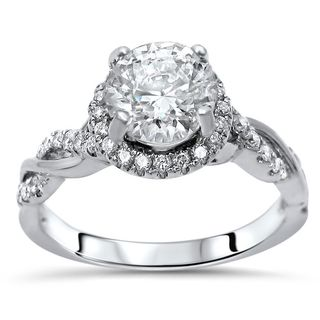 Noori 14k White Gold Moissanite and 1/3ct TDW White Diamond Engagement Ring (F-G, SI1-SI2)