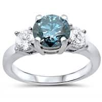 Certified Noori 14k White Gold 1 1/2ct TDW Blue and White 3-stone Engagement Ring