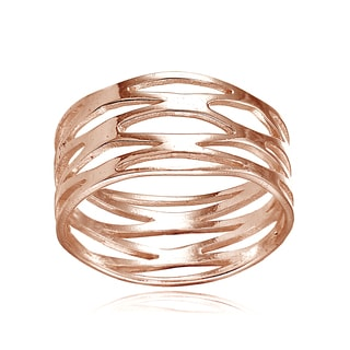 Mondevio 18k Rose Gold Over Silver High Polished Arrow Wrap Ring